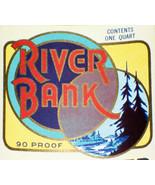 Vintage, River Bank Whiskey Label, Qt, 1930's - $1.19