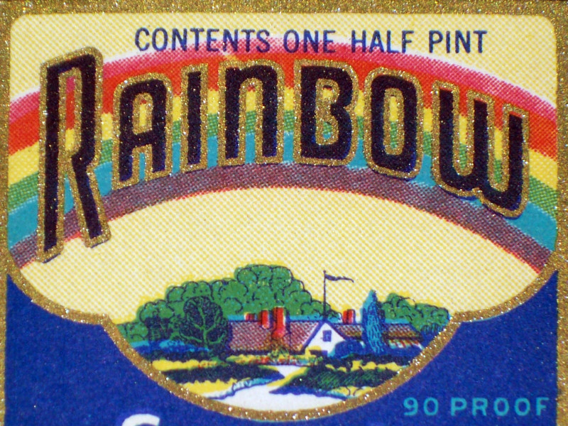 Little Pot Of Gold! Rainbow Whiskey Label, 1930's