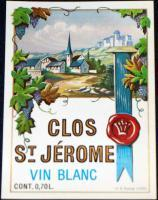 Scenic Litho! Clos St. Jerome (White Wine) Label 1930's