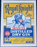 Large Imported Royal Knight Dry Gin Label, 1930's