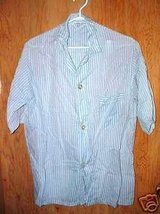 Rayon Cotton Blue White Stripe Blouse Vintage - $8.99