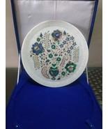 "White Plate semi precious Stone inlaid vintage 12"" Marble , home decor, ... - $188.10"