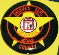 GEORGIA LEE COUNTY Sheriff's Tin Litho Badge, 1960s