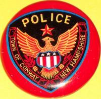 NEW HAMPSHIRE Conway Police Tin Litho Badge, 1960s