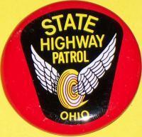 OHIO State Highway Patrol Tin Litho Badge, 1960s