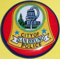 CALIFORNIA San Bruno Police Tin Litho Badge, 1960s