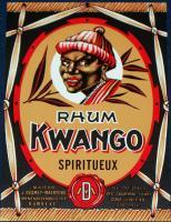 EXOTIC! Kwango Rhum Spiritueux Label, 1930's