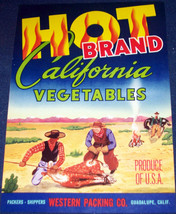 HOT BRAND California Vegetables Crate Label, 1930's - $6.99