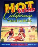 HOT BRAND California Vegetables Crate Label, 1930's