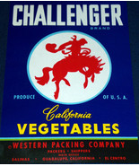 CHALLENGER California Vegetables Crate Label, 1940's - $2.99