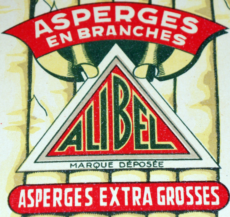 Alibel Asparagus French Crate Label, 1940's