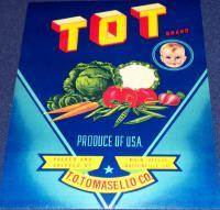 TOT Brand Crate Label, 1930's, Made in USA