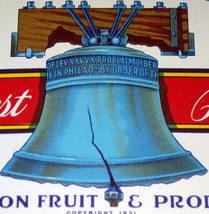 Liberty Bell! Independent Brand Crate Label, 1940's - $3.99