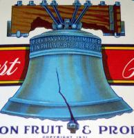 Liberty Bell! Independent Brand Crate Label, 1940's
