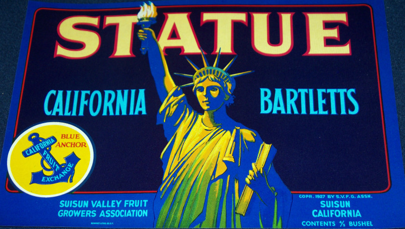 Statue crate label 001