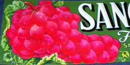 Rose Red Grapes! Sanguinetti Crate Label, 1920s - $8.99