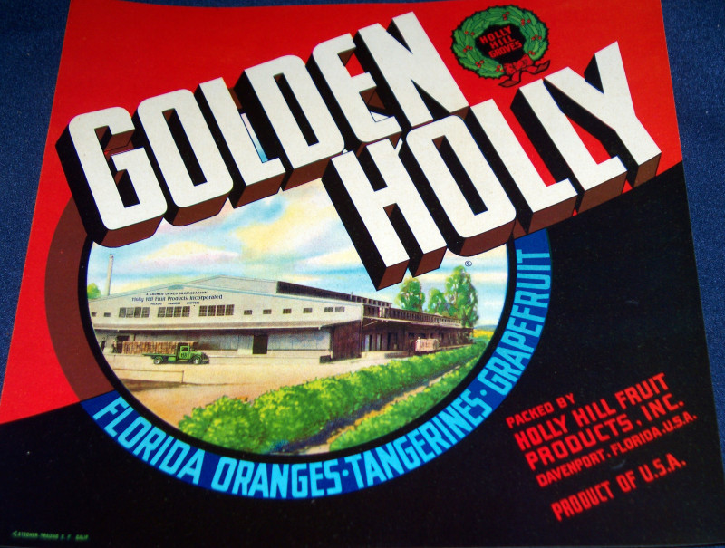 Vintage Golden Holly Crate Label, 1930s