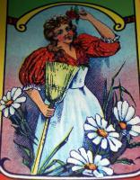 Vintage Lithograph! Victorian Maid Label 1910's