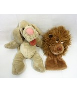 Vintage Ganz Bros. Wrinkles Plush Puppet Dog 7285457 with Lion Puppet  - $35.05