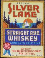 SILVER LAKE Straight Rye Whiskey RARE Label 1930's