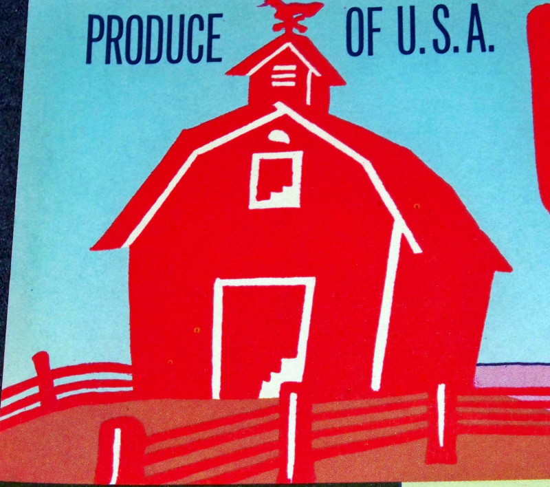 Red barn crate label 002