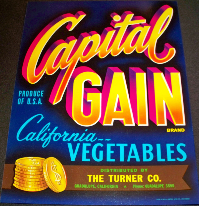 Capital gain crate label 001