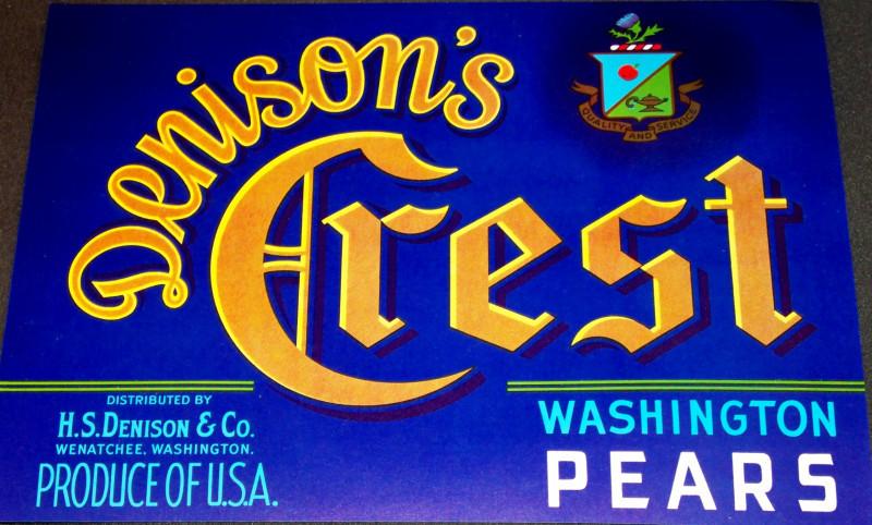 Denisons crest crate label 001