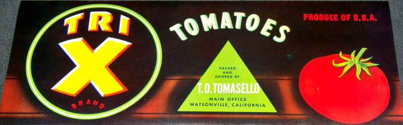 Tri X Brand Tomatoes Crate Label, 1940's