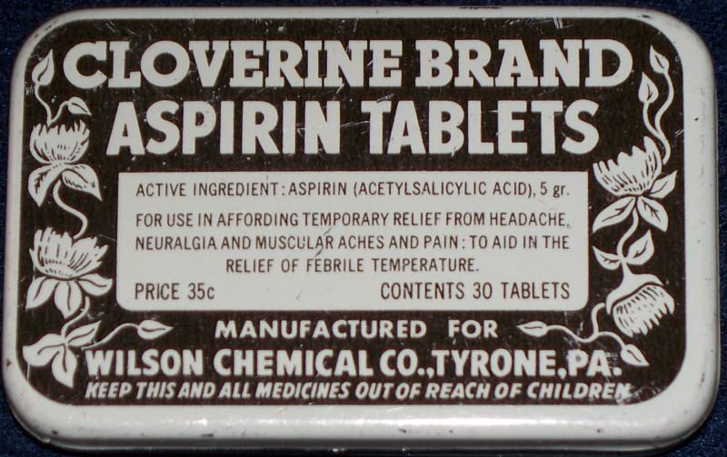 Cloverine aspiran advertising old tin 001
