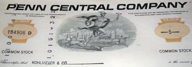 Penn central stock certificate 002