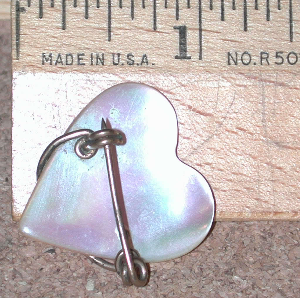 GF Wire Mother of Pearl carved Heart Pin Vintage MOP gold filled