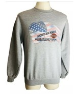 Harley Davidson Vintage Gray Medium Flag Sweatshirt American Made Embroi... - $22.54