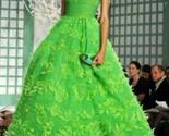 $12K OSCAR DE LA RENTA STUNNING GREEN EXCL. EMBR. PANACHE RUNWAY GOWN DRESS US 6