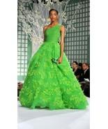 $12K OSCAR DE LA RENTA STUNNING GREEN EXCL. EMBR. PANACHE RUNWAY GOWN DRESS US 6 - $3,995.00