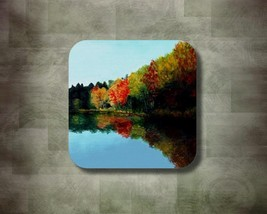 Rubber Coasters set of 4, Colors of Fall Autumn from art painting by L.D... - $10.99