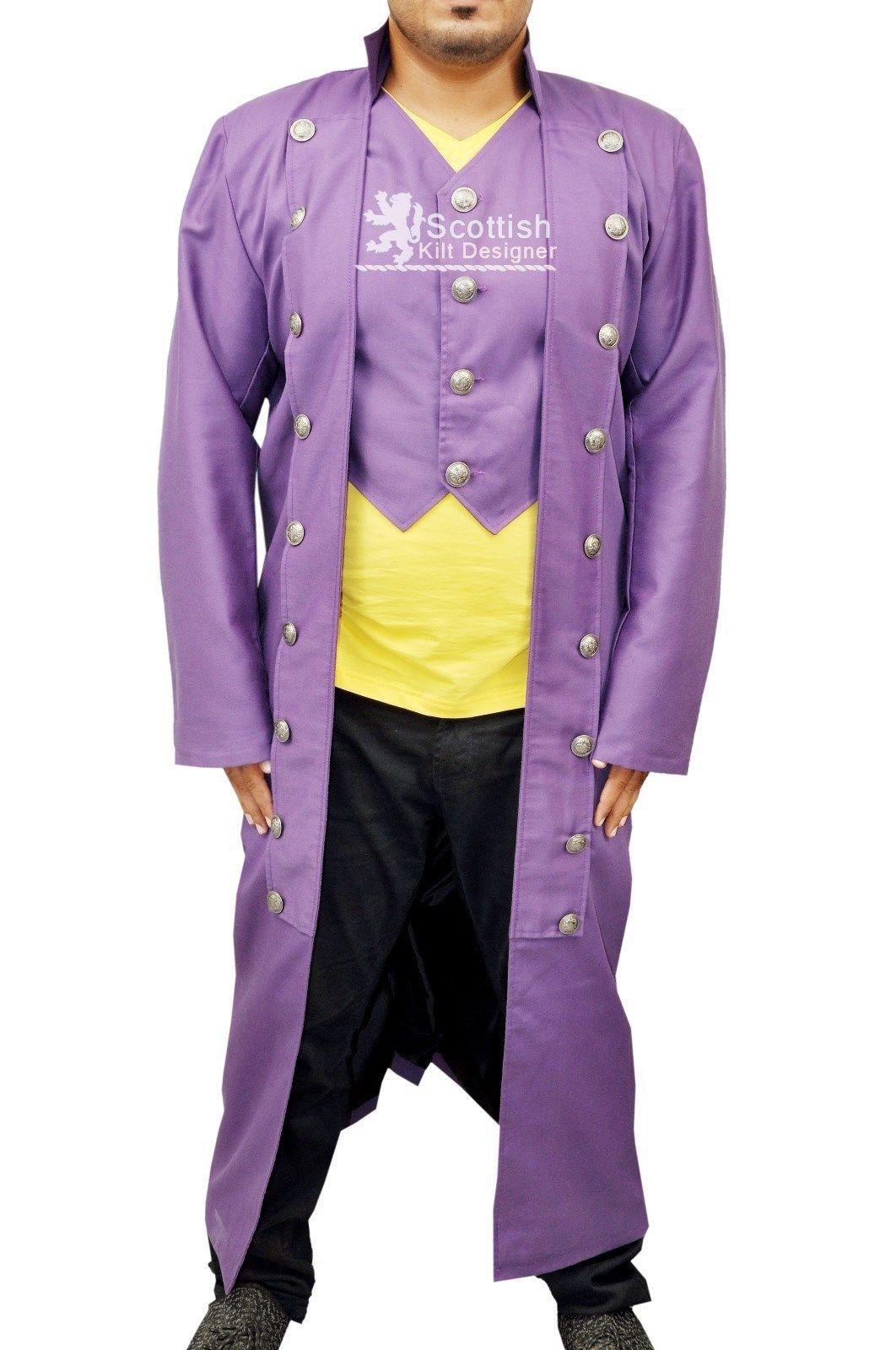51806bbe21f Men Steampunk Black Military Long Coat Cotton VTG Trench Goth Victorian  Handmade