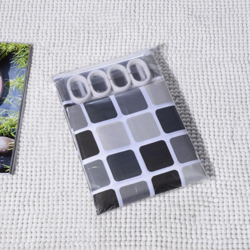 JUYANG. Bathroom waterproof shower curtain. Stylish black and white gray squares