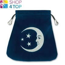 SMILING MOON VELVET BAG DARK BLUE EMBROIDERED CARDS LO SCARABEO 200x200 ... - $17.10
