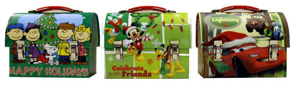 Disney and Peanuts Set of 3 Christmas Workmans Small Tin Tote Lunchboxes UNUSED