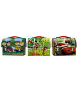 Disney and Peanuts Set of 3 Christmas Workmans Small Tin Tote Lunchboxes... - $16.93