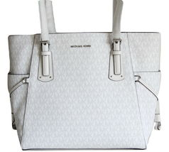 NWT MICHAEL KORS VOYAGER SIGNATURE EAST WEST TOTE BRIGHT WHITE image 3