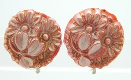 Vintage Pink Metallic Celluloid Floral Flower Screw Earrings - $19.80