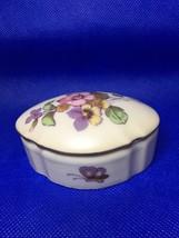 Vintage Lefton Trinket Box Floral Flowers Gold Color Trim Valentine Butterfly - $15.99