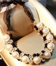 Bow Knot Ribbon Rhinestone & Pearl Necklace - £9.75 GBP