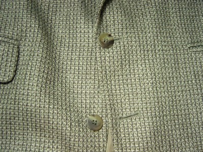 MEN HAGGAR CITY CASUALS JACKET BROWN BEIGE SINGLE BREASTED