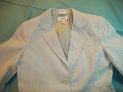 WOMEN LADIES TALBOTS PETITES JACKET TOP SIZE 4 BEIGE LINEN
