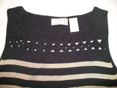 WOMEN LIZ CLAIBORNE SHIRT TOP S SMALL BLACK GOLD STRIP