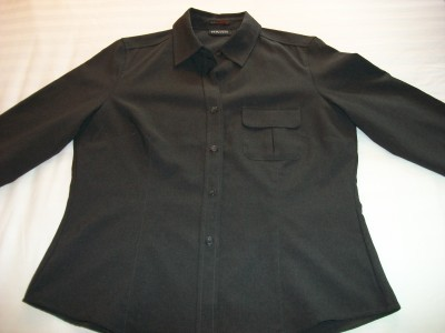 WOMEN NEW YORK & COMPANY SHIRT TOP L LARGE SLATE GREY