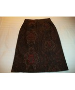 WOMEN LADIES BRIGGS PETITE BROWN & RED EXOTIC PATTERN LONG S - $12.99