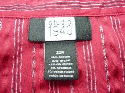 WOMEN STUDIO 1940 DRESS OR CAREER SHIRT TOP PLUS 22 W